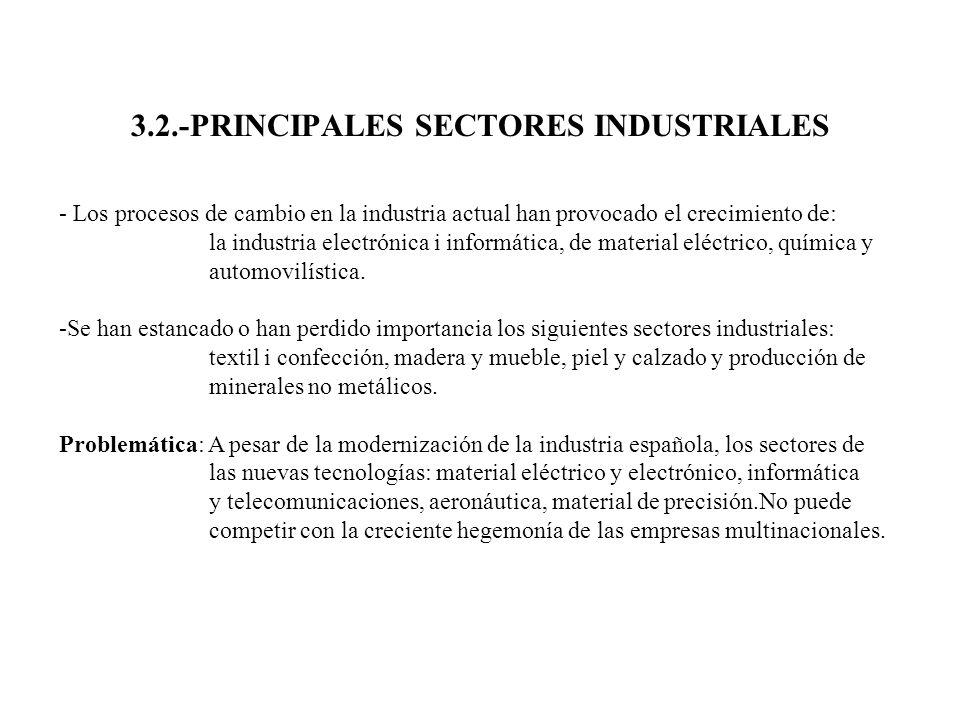 3.2.-PRINCIPALES SECTORES INDUSTRIALES - Los procesos de cambio en la industria actual han provocado el crecimiento de: la industria electrónica i inf