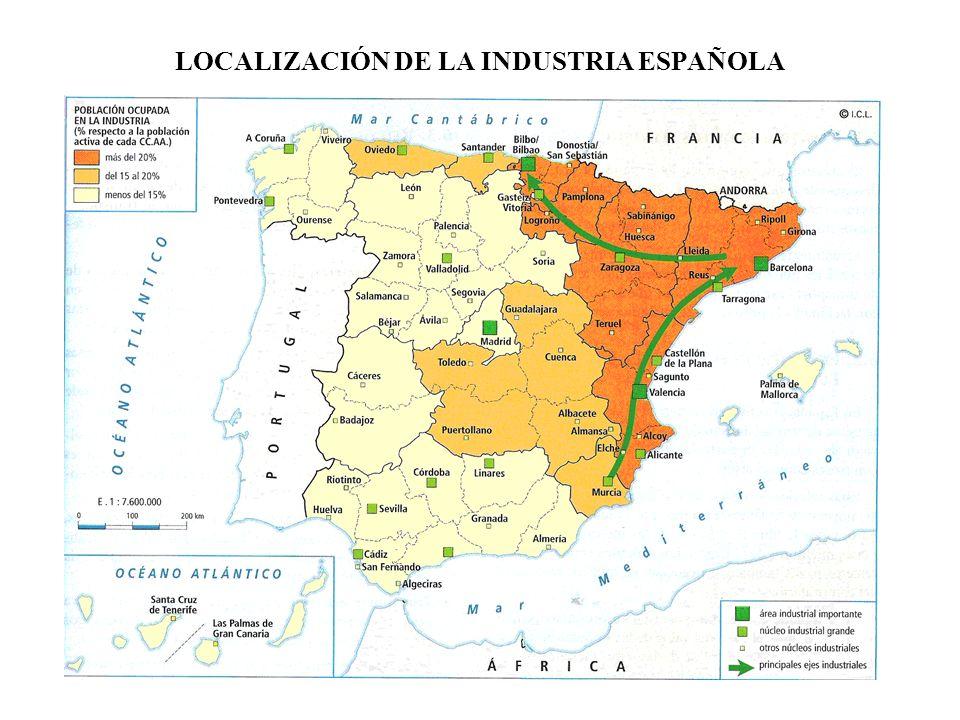 LOCALIZACIÓN DE LA INDUSTRIA ESPAÑOLA