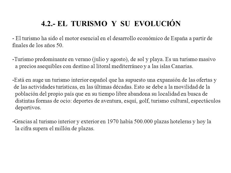 4.2.- EL TURISMO Y SU EVOLUCIÓN - El turismo ha sido el motor esencial en el desarrollo económico de España a partir de finales de los años 50. -Turis