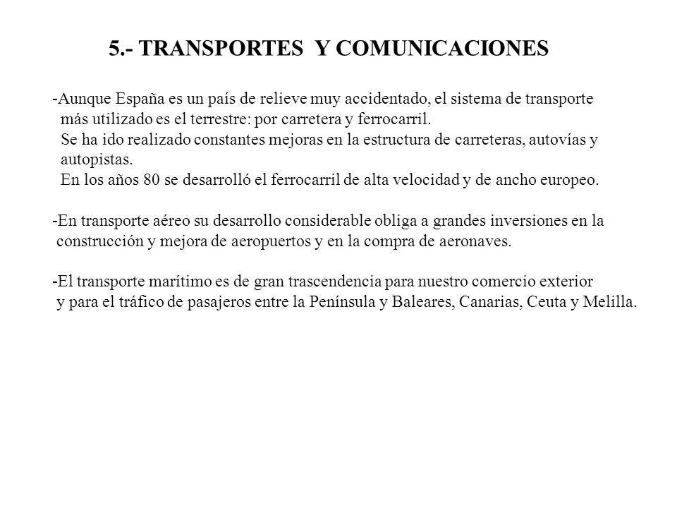 5.- TRANSPORTES Y COMUNICACIONES -Aunque España es un país de relieve muy accidentado, el sistema de transporte más utilizado es el terrestre: por car