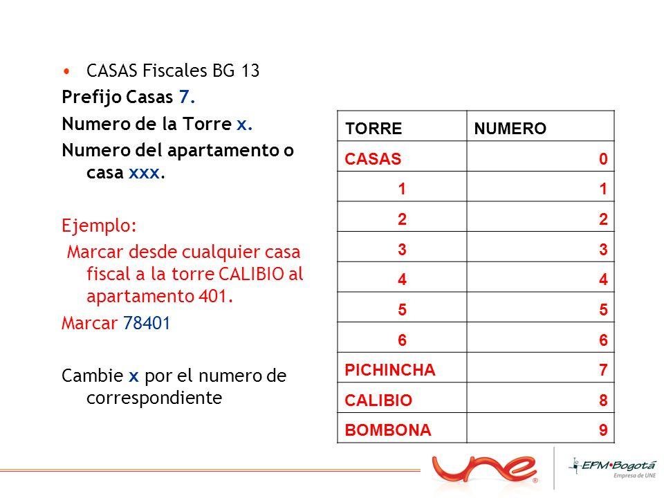 CASAS Fiscales BG 13 Prefijo Casas 7. Numero de la Torre x. Numero del apartamento o casa xxx. Ejemplo: Marcar desde cualquier casa fiscal a la torre
