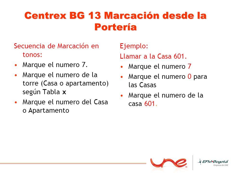 Centrex BG 13 Marcación desde la Portería Secuencia de Marcación en tonos: Marque el numero 7. Marque el numero de la torre (Casa o apartamento) según