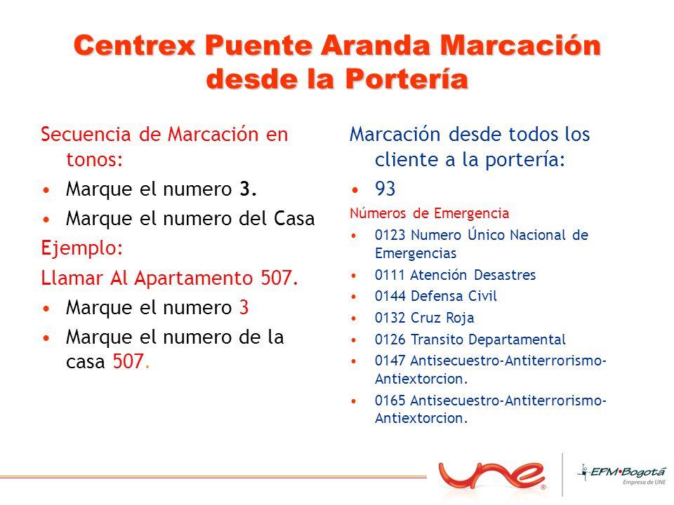 Centrex Puente Aranda Marcación desde la Portería Secuencia de Marcación en tonos: Marque el numero 3. Marque el numero del Casa Ejemplo: Llamar Al Ap