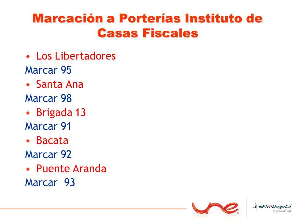 Marcación a Porterías Instituto de Casas Fiscales Los Libertadores Marcar 95 Santa Ana Marcar 98 Brigada 13 Marcar 91 Bacata Marcar 92 Puente Aranda M