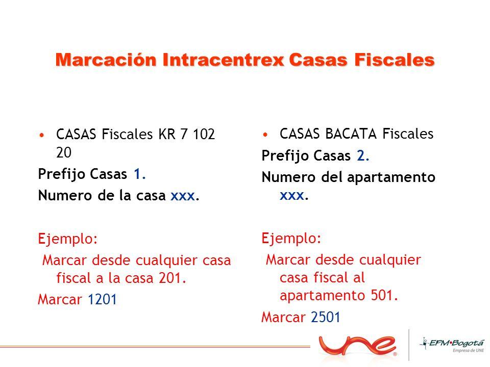 Marcación Intracentrex Casas Fiscales CASAS Fiscales KR 7 102 20 Prefijo Casas 1. Numero de la casa xxx. Ejemplo: Marcar desde cualquier casa fiscal a