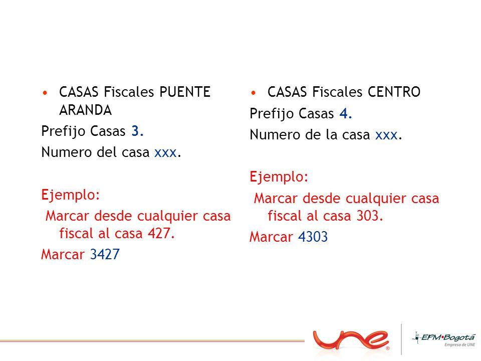 CASAS Fiscales PUENTE ARANDA Prefijo Casas 3. Numero del casa xxx. Ejemplo: Marcar desde cualquier casa fiscal al casa 427. Marcar 3427 CASAS Fiscales