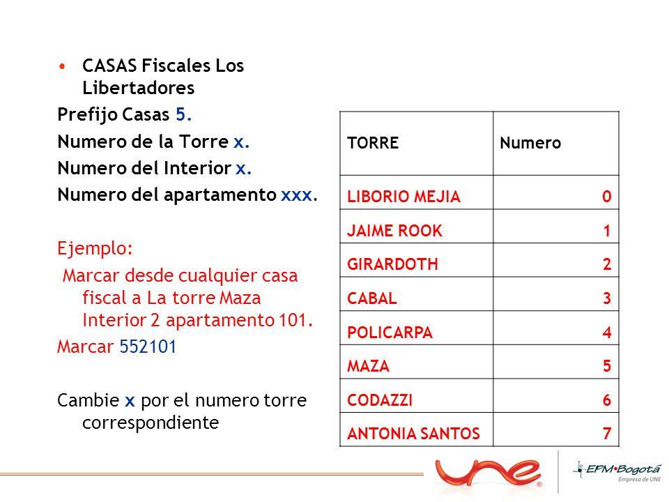 CASAS Fiscales Los Libertadores Prefijo Casas 5. Numero de la Torre x. Numero del Interior x. Numero del apartamento xxx. Ejemplo: Marcar desde cualqu