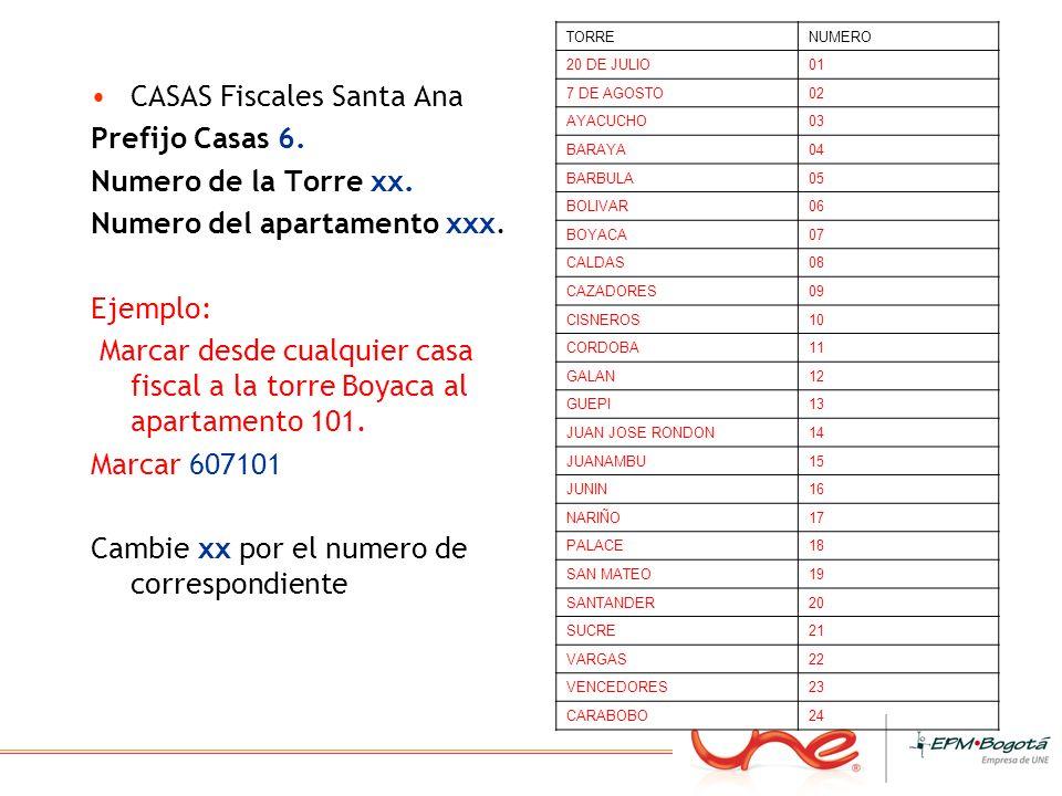 CASAS Fiscales Santa Ana Prefijo Casas 6. Numero de la Torre xx. Numero del apartamento xxx. Ejemplo: Marcar desde cualquier casa fiscal a la torre Bo
