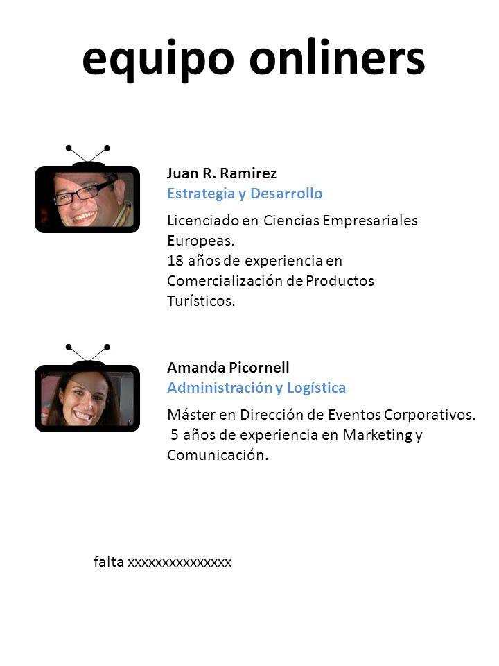 equipo onliners Juan R. Ramirez Estrategia y Desarrollo Licenciado en Ciencias Empresariales Europeas. 18 años de experiencia en Comercialización de P
