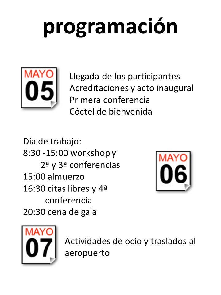 programación Llegada de los participantes Acreditaciones y acto inaugural Primera conferencia Cóctel de bienvenida Día de trabajo: 8:30 -15:00 worksho