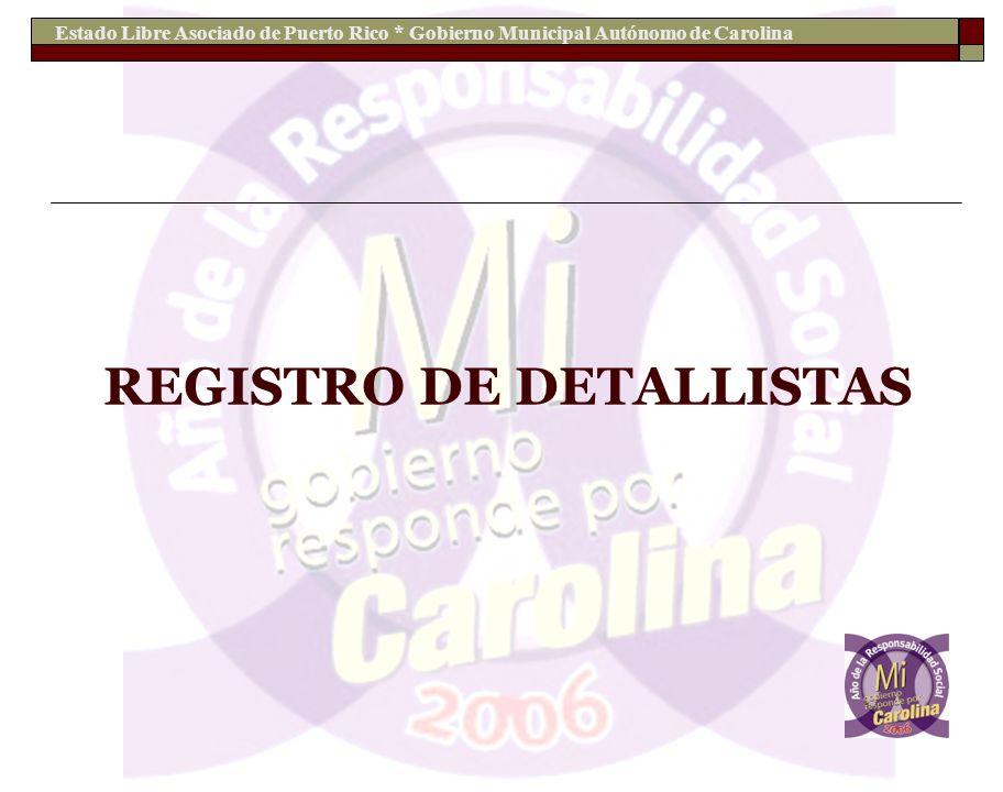 Estado Libre Asociado de Puerto Rico * Gobierno Municipal Autónomo de Carolina REGISTRO DE DETALLISTAS