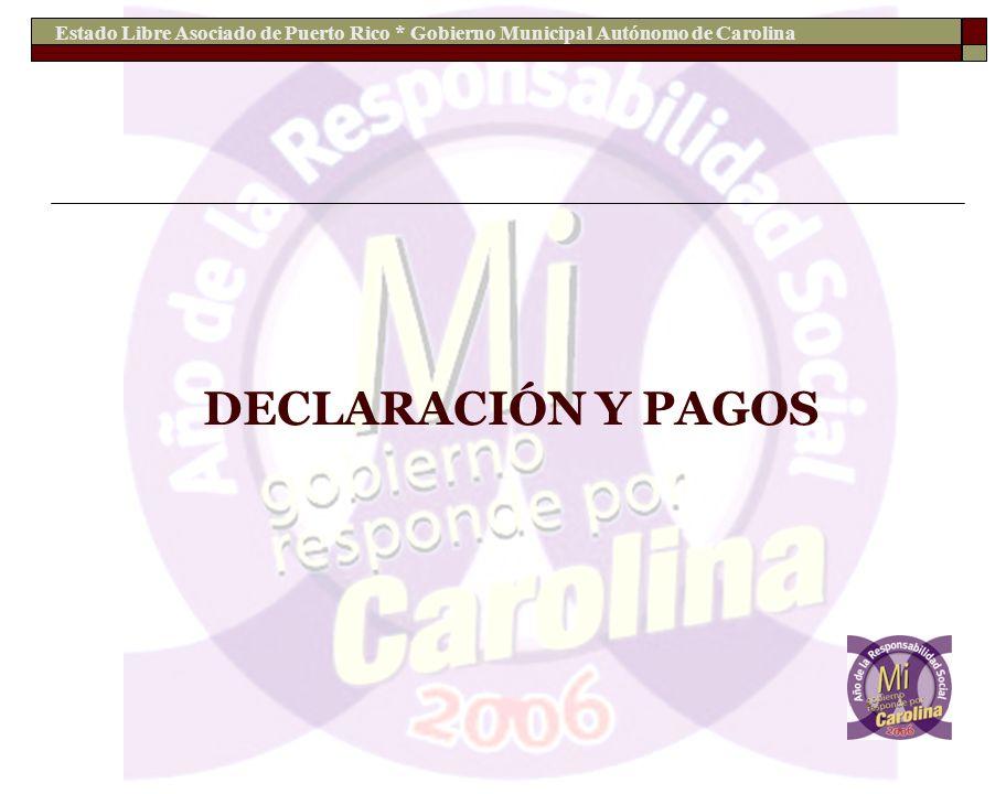 Estado Libre Asociado de Puerto Rico * Gobierno Municipal Autónomo de Carolina DECLARACIÓN Y PAGOS