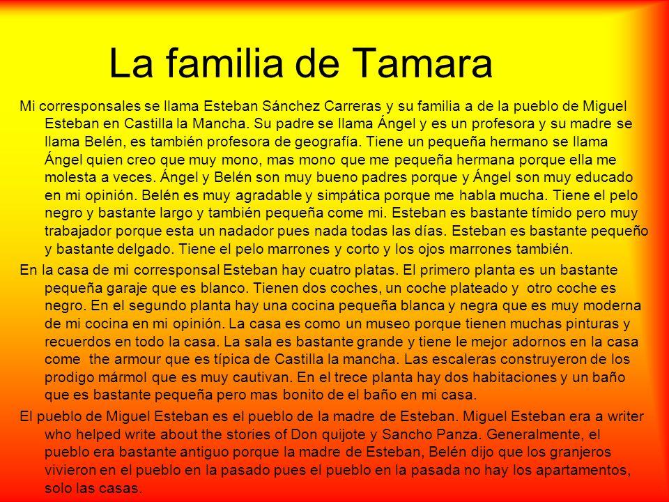 La familia de Tamara Mi corresponsales se llama Esteban Sánchez Carreras y su familia a de la pueblo de Miguel Esteban en Castilla la Mancha. Su padre