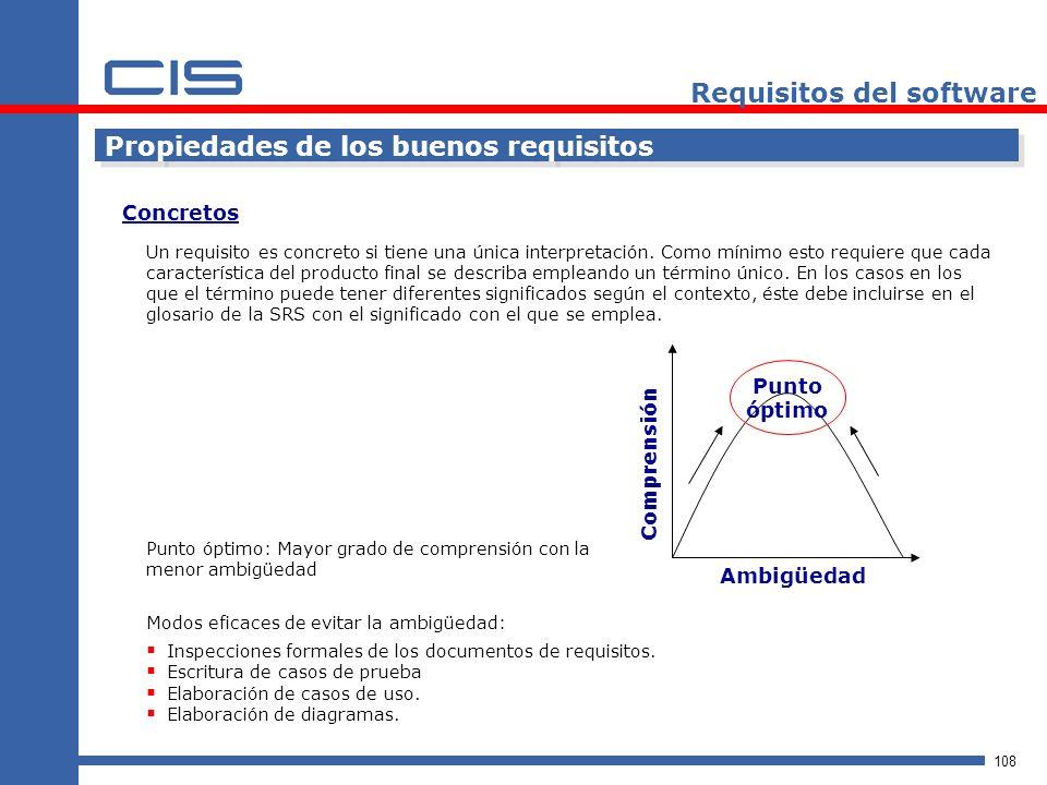 108 Requisitos del software Propiedades de los buenos requisitos Un requisito es concreto si tiene una única interpretación.