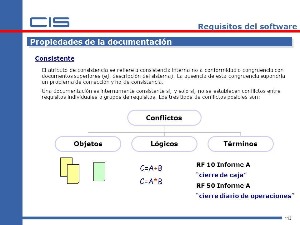 113 Requisitos del software Propiedades de la documentación El atributo de consistencia se refiere a consistencia interna no a conformidad o congruencia con documentos superiores (ej.