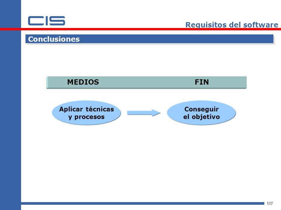 117 Requisitos del software Conclusiones MEDIOS FIN Aplicar técnicas y procesos Conseguir el objetivo