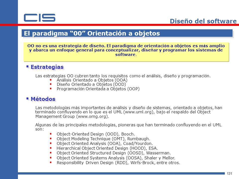 131 Diseño del software El paradigma 00 Orientación a objetos OO no es una estrategia de dise ñ o.