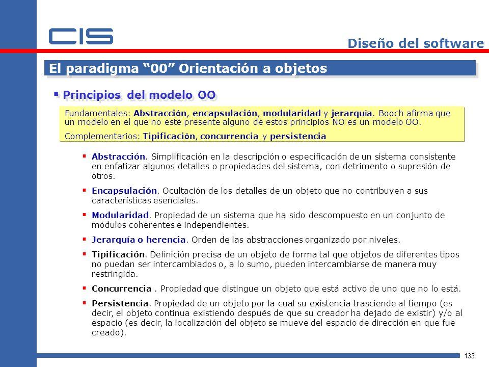 133 Diseño del software El paradigma 00 Orientación a objetos Principios del modelo OO Abstracción.