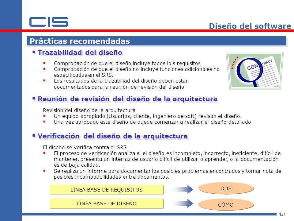 137 Diseño del software Comprobación de que el diseño incluye todos lols requisitos Comprobación de que el diseño no incluye funciones adicionales no especificadas en el SRS.