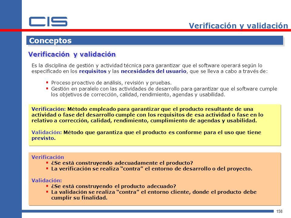 158 Verificación y validación Conceptos Es la disciplina de gestión y actividad técnica para garantizar que el software operará según lo especificado en los requisitos y las necesidades del usuario, que se lleva a cabo a través de: Proceso proactivo de análisis, revisión y pruebas.