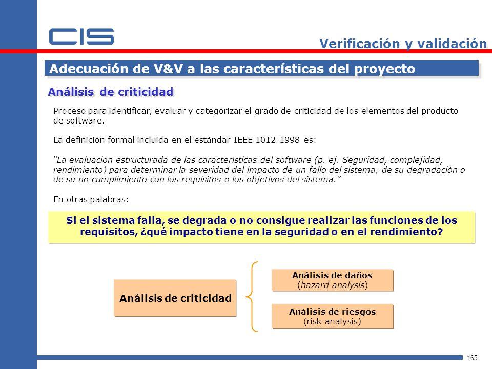165 Verificación y validación Adecuación de V&V a las características del proyecto Proceso para identificar, evaluar y categorizar el grado de criticidad de los elementos del producto de software.