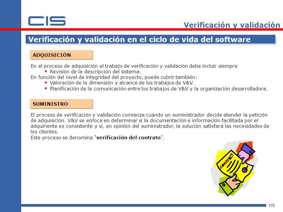 176 Verificación y validación Verificación y validación en el ciclo de vida del software ADQUISICIÓN En el proceso de adquisición el trabajo de verificación y validación debe incluir siempre Revisión de la descripción del sistema.