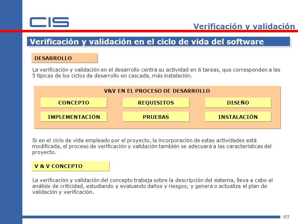 177 Verificación y validación Verificación y validación en el ciclo de vida del software DESARROLLO La verificación y validación en el desarrollo centra su actividad en 6 tareas, que corresponden a las 5 típicas de los ciclos de desarrollo en cascada, más instalación.