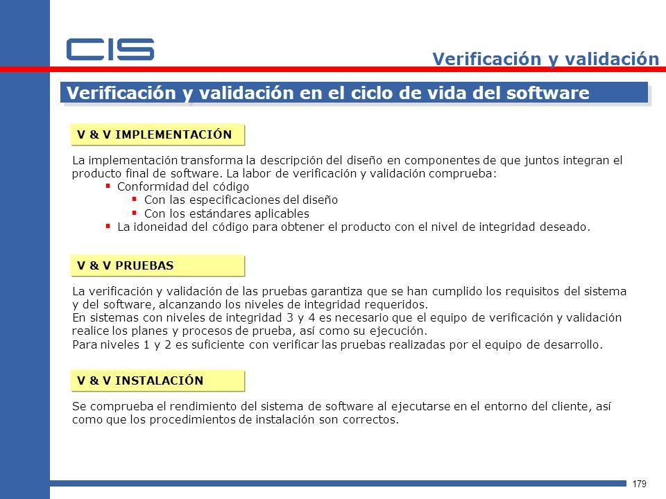 179 Verificación y validación Verificación y validación en el ciclo de vida del software V & V IMPLEMENTACIÓN La implementación transforma la descripción del diseño en componentes de que juntos integran el producto final de software.