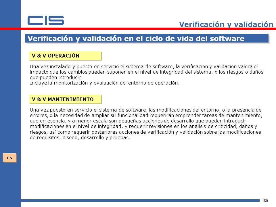 180 Verificación y validación Verificación y validación en el ciclo de vida del software V & V OPERACIÓN Una vez instalado y puesto en servicio el sistema de software, la verificación y validación valora el impacto que los cambios pueden suponer en el nivel de integridad del sistema, o los riesgos o daños que pueden introducir.