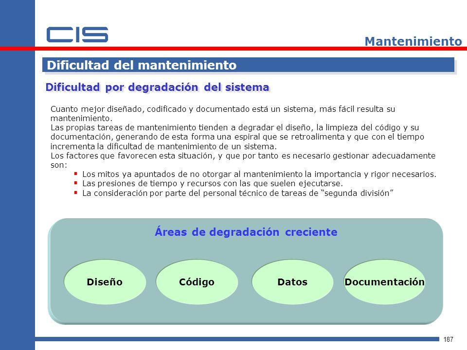187 Mantenimiento Dificultad del mantenimiento Cuanto mejor diseñado, codificado y documentado está un sistema, más fácil resulta su mantenimiento.