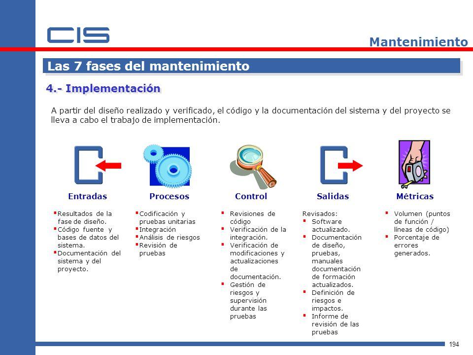 194 Mantenimiento Las 7 fases del mantenimiento A partir del diseño realizado y verificado, el código y la documentación del sistema y del proyecto se lleva a cabo el trabajo de implementación.