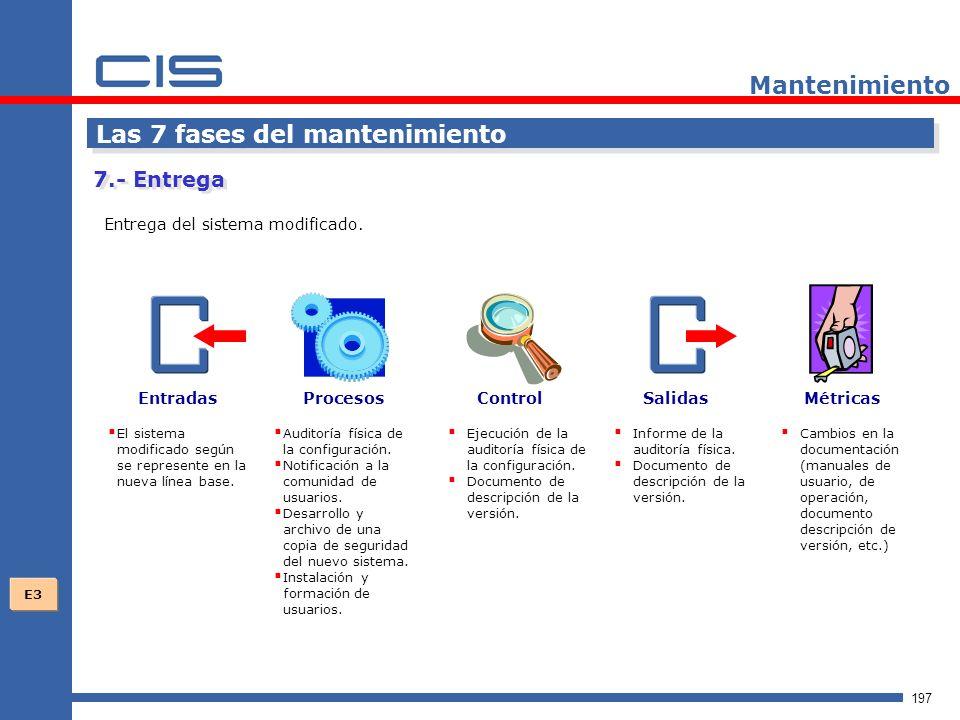 197 Mantenimiento Las 7 fases del mantenimiento Entrega del sistema modificado.
