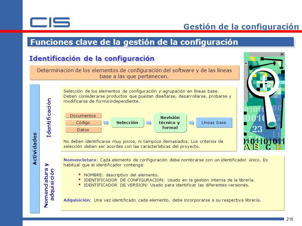 218 Gestión de la configuración Identificación de la configuración Funciones clave de la gestión de la configuración Determinación de los elementos de configuración del software y de las líneas base a las que pertenecen.