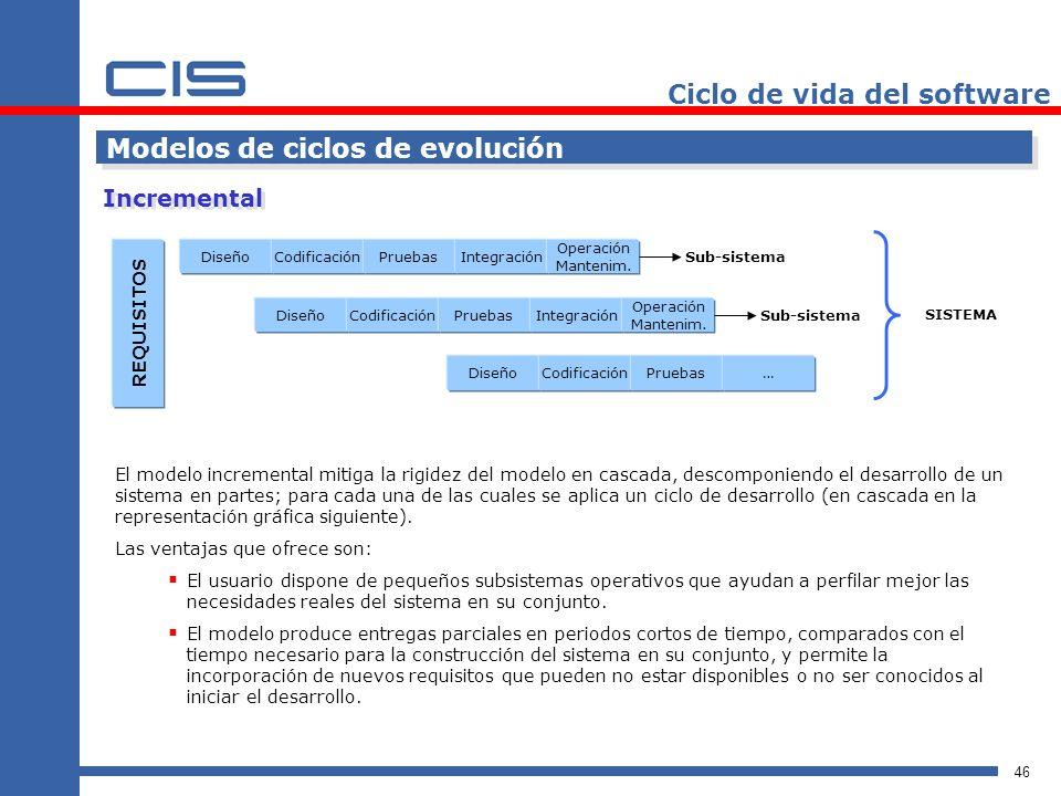 46 Ciclo de vida del software Modelos de ciclos de evolución Incremental REQUISITOS DiseñoCodificaciónPruebasIntegración Operación Mantenim.