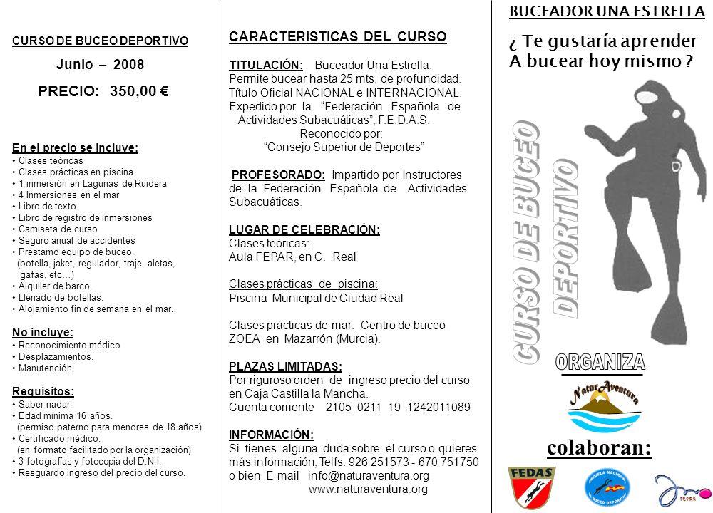CURSO DE BUCEO DEPORTIVO Junio – 2008 PRECIO: 350,00 En el precio se incluye: Clases teóricas Clases prácticas en piscina 1 inmersión en Lagunas de Ru