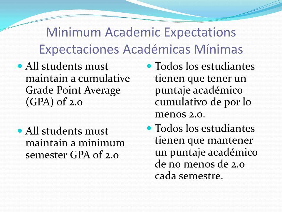 Minimum Academic Expectations Expectaciones Académicas Mínimas All students must maintain a cumulative Grade Point Average (GPA) of 2.0 All students must maintain a minimum semester GPA of 2.0 Todos los estudiantes tienen que tener un puntaje académico cumulativo de por lo menos 2.0.