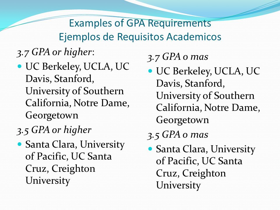 Examples of GPA Requirements Ejemplos de Requisitos Academicos 3.7 GPA or higher: UC Berkeley, UCLA, UC Davis, Stanford, University of Southern California, Notre Dame, Georgetown 3.5 GPA or higher Santa Clara, University of Pacific, UC Santa Cruz, Creighton University 3.7 GPA o mas UC Berkeley, UCLA, UC Davis, Stanford, University of Southern California, Notre Dame, Georgetown 3.5 GPA o mas Santa Clara, University of Pacific, UC Santa Cruz, Creighton University