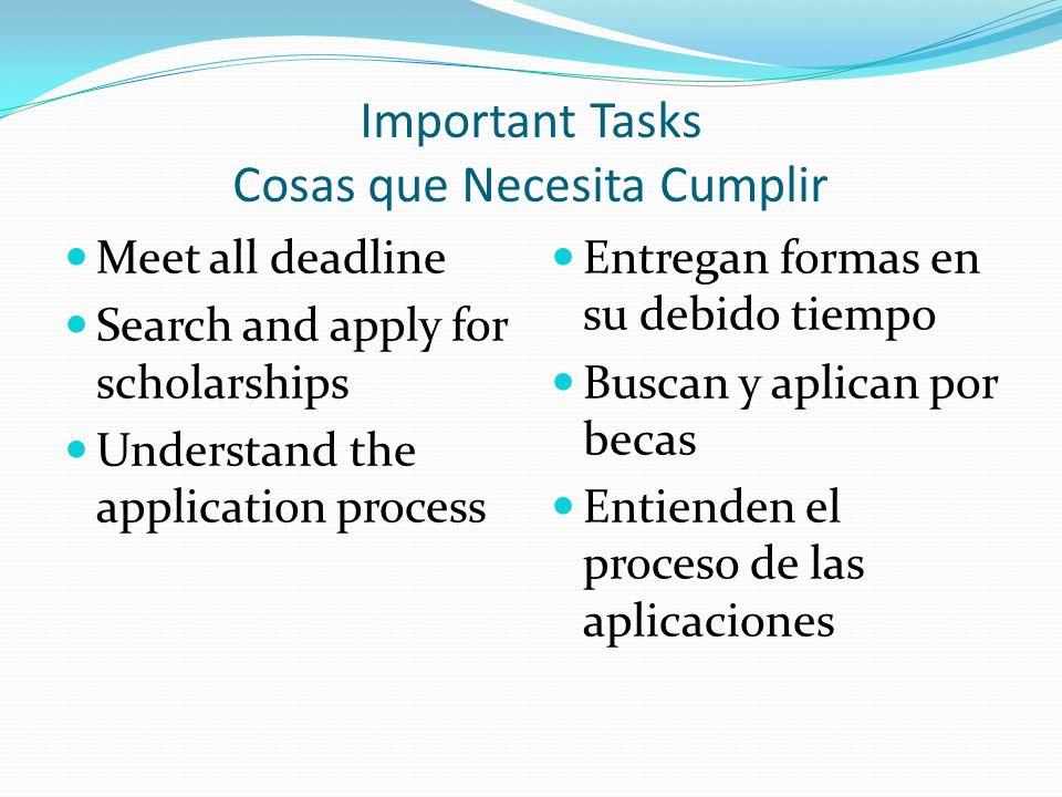 Important Tasks Cosas que Necesita Cumplir Meet all deadline Search and apply for scholarships Understand the application process Entregan formas en su debido tiempo Buscan y aplican por becas Entienden el proceso de las aplicaciones