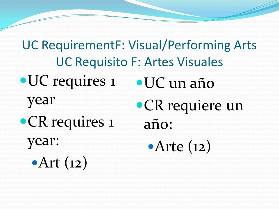 UC RequirementF: Visual/Performing Arts UC Requisito F: Artes Visuales UC requires 1 year CR requires 1 year: Art (12) UC un año CR requiere un año: Arte (12)