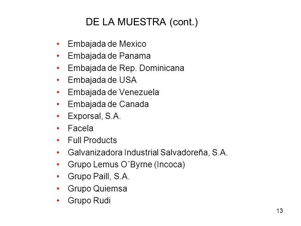 13 DE LA MUESTRA (cont.) Embajada de Mexico Embajada de Panama Embajada de Rep.