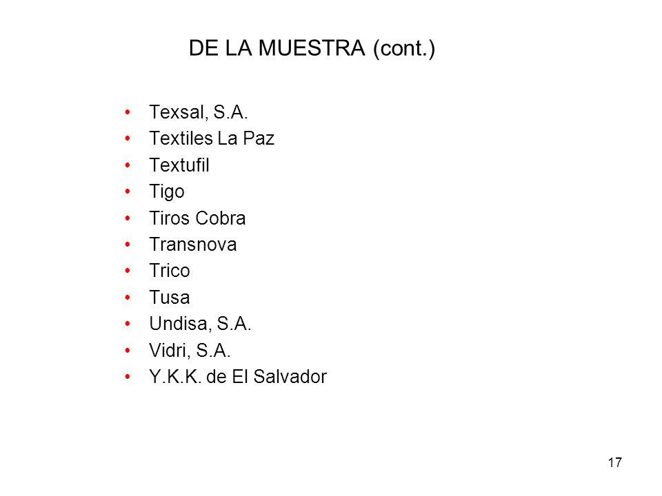 17 DE LA MUESTRA (cont.) Texsal, S.A.