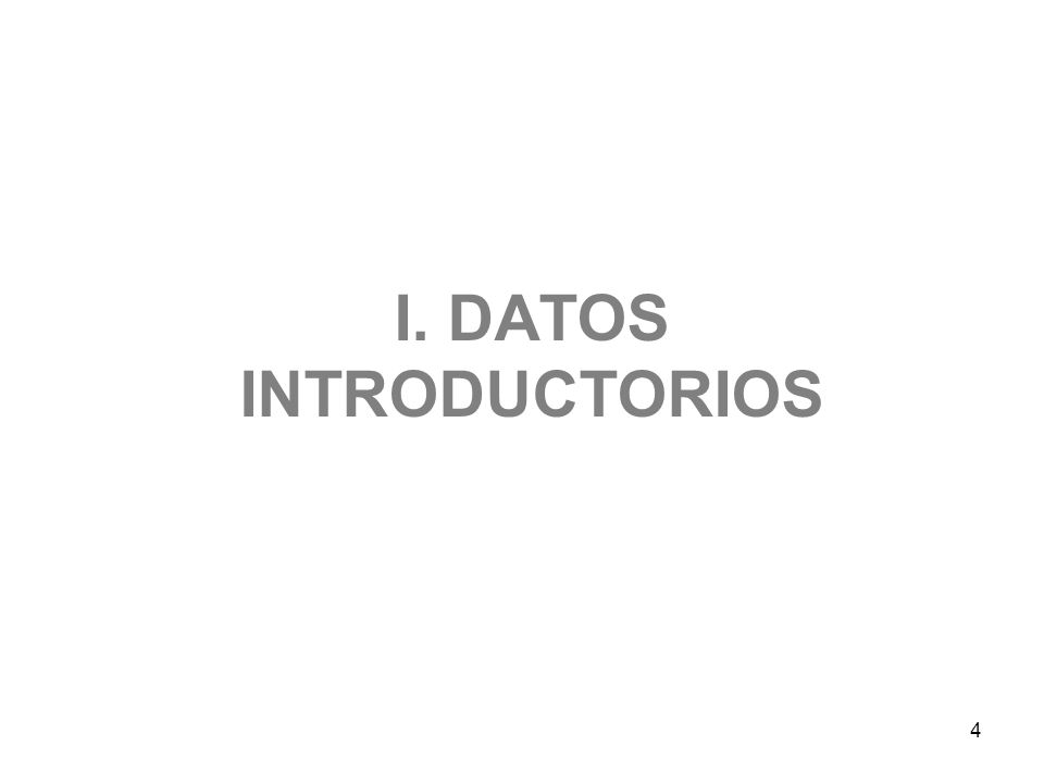 4 I. DATOS INTRODUCTORIOS