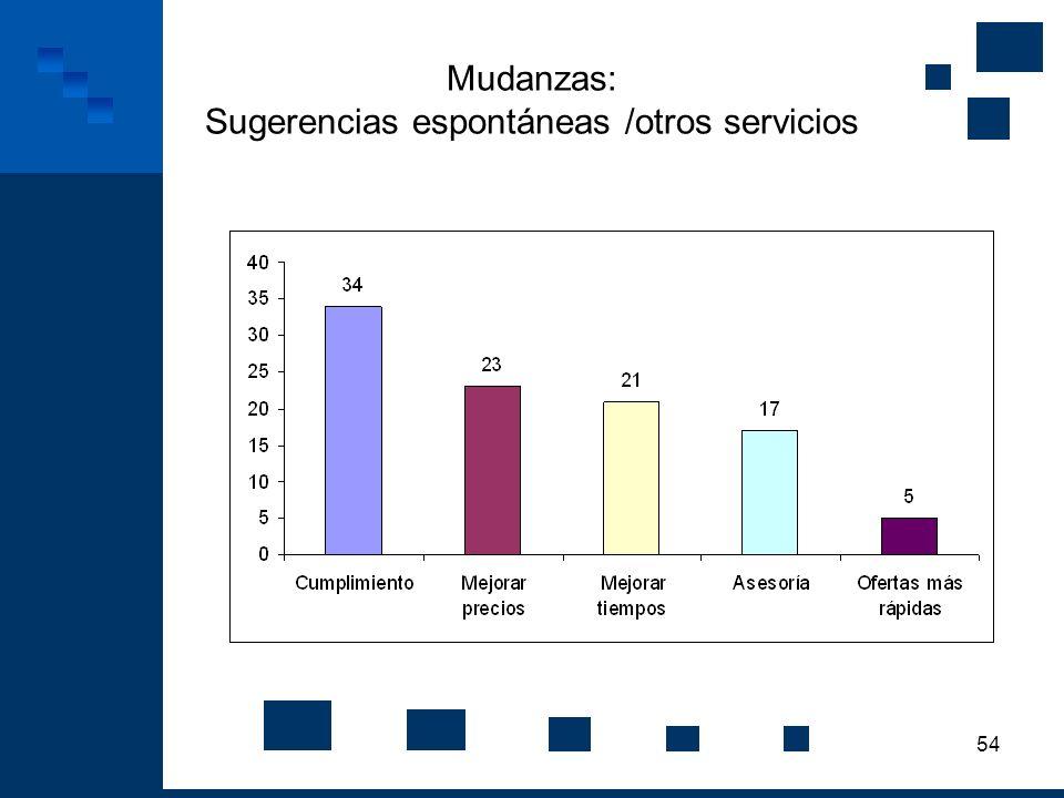 54 Mudanzas: Sugerencias espontáneas /otros servicios