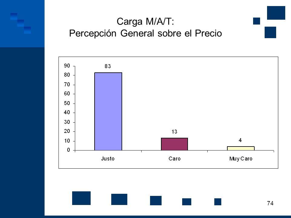 74 Carga M/A/T: Percepción General sobre el Precio