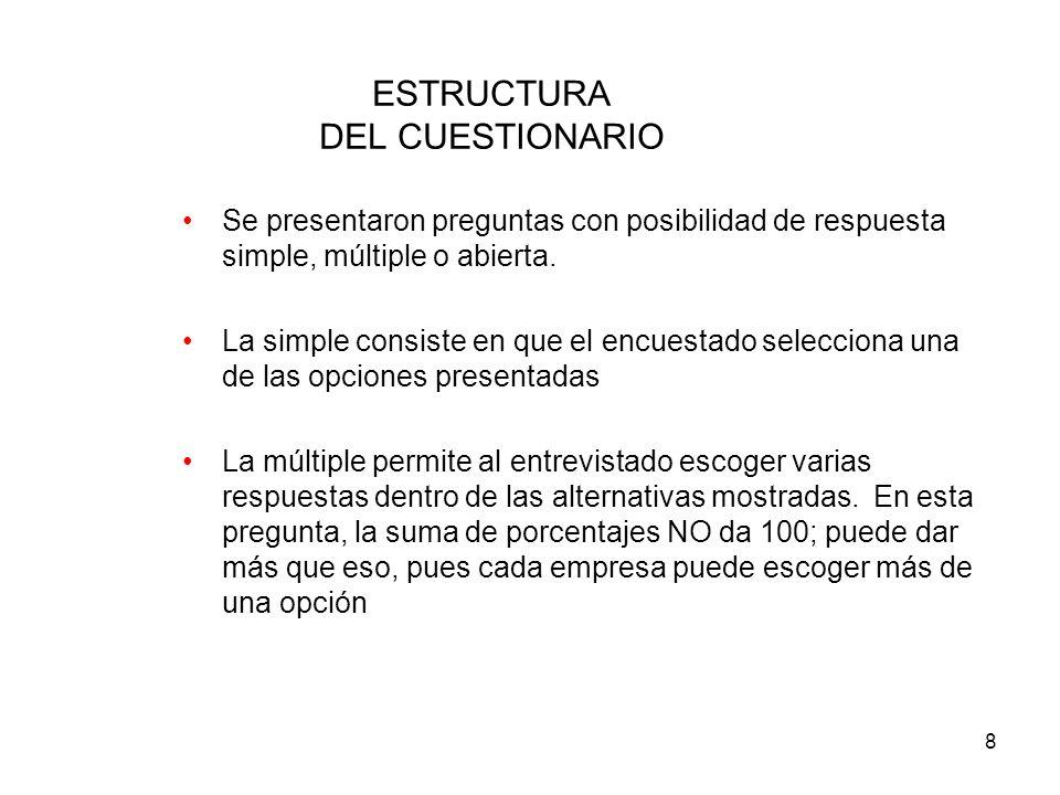 8 ESTRUCTURA DEL CUESTIONARIO Se presentaron preguntas con posibilidad de respuesta simple, múltiple o abierta.