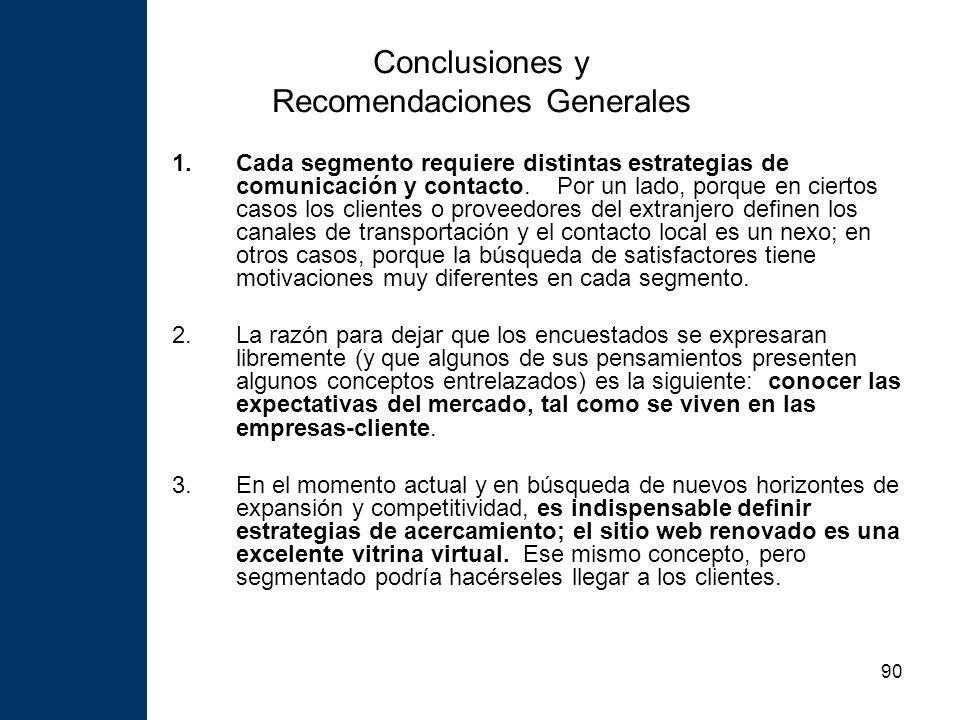 90 Conclusiones y Recomendaciones Generales 1.Cada segmento requiere distintas estrategias de comunicación y contacto.