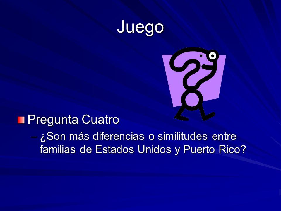 Juego Pregunta Cuatro –¿Son más diferencias o similitudes entre familias de Estados Unidos y Puerto Rico