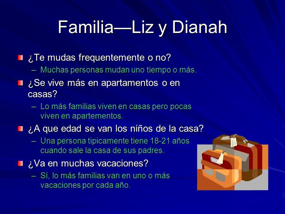 FamiliaLiz y Dianah ¿Te mudas frequentemente o no.