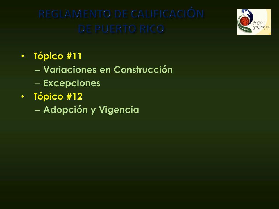 Tópico #11 – Variaciones en Construcción – Excepciones Tópico #12 – Adopción y Vigencia