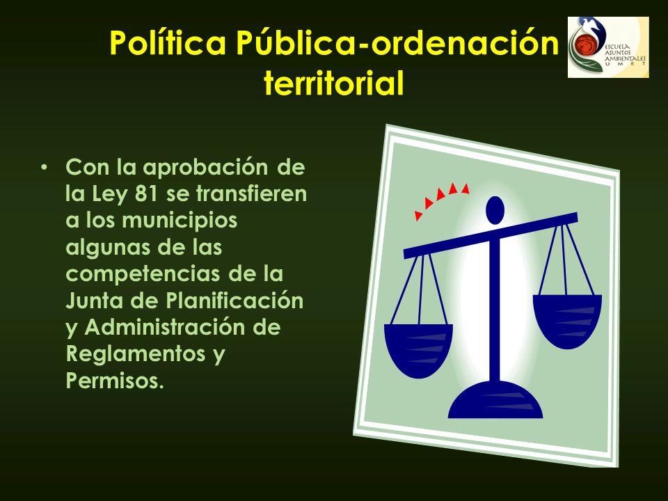 Política Pública-ordenación territorial Con la aprobación de la Ley 81 se transfieren a los municipios algunas de las competencias de la Junta de Plan
